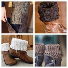 Letras e Artes da Lalá: boot cuff Crochet Boot Cuff Pattern, Knitted Boot Cuffs, Crochet Boots, Knit Boots, Winter Accessories, Crochet Accessories, Diy Fashion Videos, Boho Shoes, Winter Headbands