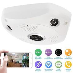 ﹩25.22. Wireless Wifi 960P HD VR IP Camera Fish Eye Panoramic CCTV Camera 1.44mm US    Video Compression - H.264, Day/Night - Auto, Visual Angle - 360°, ASIN - B073F1CPYT, IR distance - 5-10M, Storage - Support Max 128G Micro SD card(not included), Mega Pixel - 1.3MP, Lens - 1.44mm, Power - DC 12V, Resolution - 1280*960(960P), UPC - 714973609626