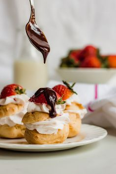 Profiteroles with Strawberry Cream and Chocolate Ganache - Cinnamon and Toast