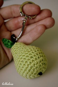 Sleutelhanger Peer, haken, gratis patroon, voedsel, #crochet, free pattern (Dutch), pear, food, fruit