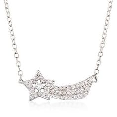 "Wish granted. This shooting star necklace shines with .50 ct. t.w. of CZs. On a cable chain with a 2"" extender and a springring clasp. Sterling silver necklace. <i>CZ weights are diamond equivalents.</i> Free shipping & easy 30-day returns. Fabulous jewelry. Great prices. Since 1952."