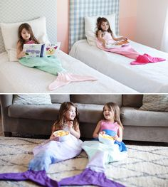 Mermaid Tail Blanket Bag - Aunty Sheryl, Jodie saw this & said Can I have one of those please! (Pink or Purple of course! Sewing For Kids, Diy For Kids, Crafts For Kids, Cute Diy Crafts, Sewing Crafts, Sewing Projects, Mermaid Tail Blanket, Mermaid Blankets, Mermaid Tails