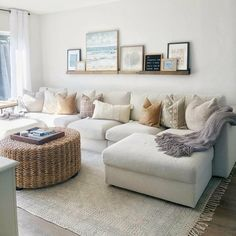 Get inspired by Coastal Living Room Design photo by Room Ideas. Wayfair lets you find the designer products in the photo and get ideas from thousands of other Coastal Living Room Design photos. Coastal Living Rooms, Home Living Room, Living Room With Sectional, Living Room Decor For Condo, Cottage Living, Natural Living Rooms, Living Room Decorations, Room And Board Living Room, Coffee Table For Small Living Room