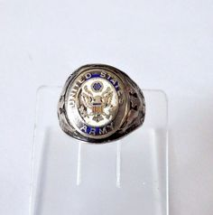 Estate Vintage Grouse Sterling U.S. Army Ring Sz 8 ~ 9 Grams * Possible WWII *