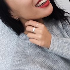 Styling by sofiemwe showing Wave Single Zirconia Ring Silver, Infinity Hoop Zirconia Ear Studs Rose Gold Large and Ribbon Ring Wide Silver #jewellery #Jewelry #bangles #amulet #dogtag #medallion #choker #charms #Pendant #Earring #EarringBackPeace #EarJacket #EarSticks #Necklace #Earcuff #Bracelet #Minimal #minimalistic #ContemporaryJewellery #zirkonia #Gemstone #JewelleryStone #JewelleryDesign #CreativeJewellery #OxidizedJewellery #gold #silver #rosegold #hoops #armcuff #jewls…