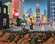 Guerra y Paz: Nueva ilustraciones de gran alcance de Gündüz Aghayev   aburrido Panda