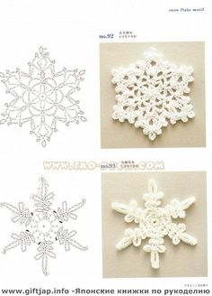snowflakes and more crochet - link to lots of diagramed snowflakes, hard to read…
