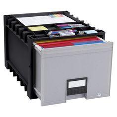 Storex Plastic Archive Storage Box with Supply Storage Top - Black/Gray