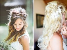 coiffure mariée cheveux lâchés, coiffure mariée, bride, mariage, wedding, hair, hairstyle, braid, updo, chignon, tresse, couronne fleurs, headband