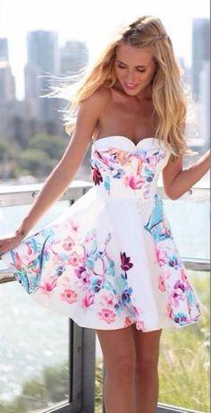 Strapless Backless Sleeveless Print Short Dress