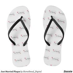 6256bef3f28ad Just Married Plaque Flip Flops - Durable Thong Style Hawaiian Beach Sandals  By Talented Fashion