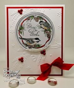 bauble with pine and birds...like the subtle splashes of red...outlinging the main panel, red bead triplets on the boughs of the embossed tree and perky red bow in the corner...