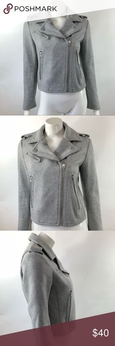 Gap Womens Moto Jacket Sz Small Gray Asymmetrical Gap Womens Moto Jacket Size Small Gray Asymmetrical Zip Wool Blend Coat. Measurements: (in inches) Underarm to underarm: 17.5 Length: 20 Sleeve: 23 Good, gently used condition GAP Jackets & Coats