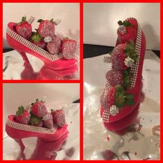 Chocolate shoe with infused grey goose strawberries