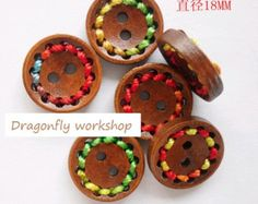 20 wooden buttons with colorful round stitches 1.8cm, children buttons