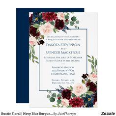 Rustic Floral   Navy Blue Burgundy Red Wedding Invitation Wedding Invitations Australia, Wedding Invitation Size, Black And White Wedding Invitations, Burgundy Wedding Invitations, Floral Invitation, Navy Blue Flowers, Floral Wedding, Rustic Wedding, Blush Pink Weddings