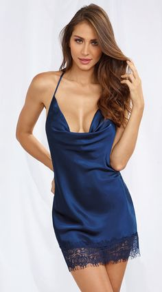 Satin Cowl Neck Chemise, Satin Chemise, Satin and Lace Chemise