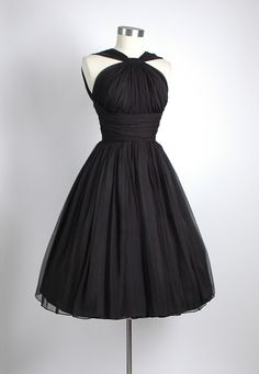 Custom silk chiffon little black dress with a separated mini petticoat
