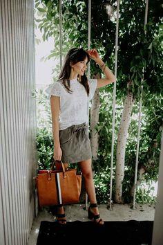 Good Sport Tie Waist Skirt in Olive