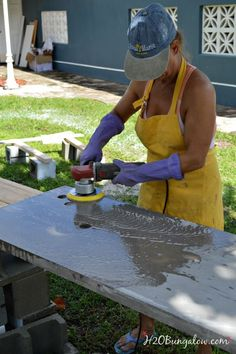 DIY concrete countertop tutorial with a video to help guide you through making…