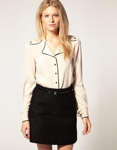 Vero Moda 40's Style Piped Blouse