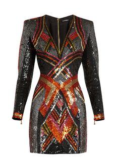 V-neck sequin-embellished mini dress V Neck Cocktail Dress, Sequin Cocktail Dress, Sequin Mini Dress, Cocktail Dresses, Plunging V Neck Dress, Balmain Dress, Plunge Dress, Swagg, Polyvore Fashion
