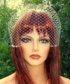 Bridal Veil French Net Birdcage Wedding Veil with Crystal Edge and Comb NEW  #kathyjohnson