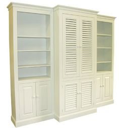 three piece cottage wall unit features a large center unit three shelves in each side unit beautiful crown molding and detailed beadboard backing