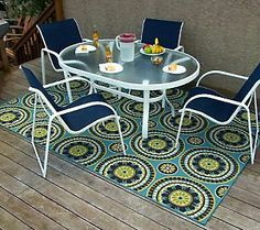 """Indoor/Outdoor 94"""" x 120"""" All Weather Olefin Caspian Rug - QVC.com // LOVE this, just hose it down to clean!"""