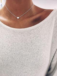 Luxury Jewelry 2017/2018 : Silver Heart Chain Choker