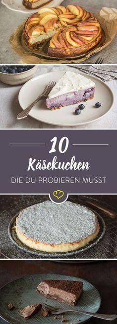 Eins ist sicher: Käsekuchen geht immer. Mit oder ohne Obst, schokoladig, vegan – mit diesen 10 Rezepten bringst du Abwechslung auf die Kuchenplatte.