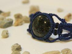 Handmade Bracelet/ Macrame/ Gem/ Stone/ Blue/