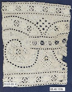 Fragment  Date: late 16th century  Culture: Italian  Dimensions: L. 6 1/2 x W. 16 1/2 inches 16.5 x 41.9 cm  Classification: Textiles-Laces-Cutwork  Accession Number: 08.48.133b