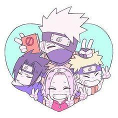 Team 7 Kakashi Hatake ,Naruto Uzumaki,Sakura Haruno , and Sasuke Uchiha Anime Chibi, Anime Naruto, Sasuke X Naruto, Naruto Chibi, Comic Naruto, Kakashi Sensei, Naruto Cute, Sakura And Sasuke, Naruto Shippuden Anime