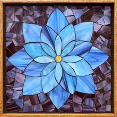 Student Work from a Kasia Mosaics Stained Glass Mosaic Flower Workshop - Lotus Flower by Judy. Sign up for a class near you via www.kasiamosaics.comStudent Work