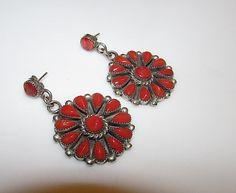 Native American Navajo Sterling Silver Mediterranean Coral Pierced Dangle Statement Earrings Cluster Rosette Design