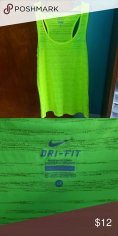 Nike neon yellow tank top Sheer detailing. Oversized fit. Nike Tops Tank Tops