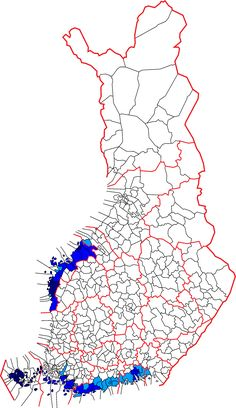Location of the Swedish-speaking an bilingual cities and municipalties of Finland. Dark blue: unilingually Swedish Middle blue: bilingual with Swedish as majority language Light blue: bilingual with Finnish as majority language White: unilingually Finnish Semitic Languages, Blue Green Eyes, Fjord, Some People Say, Unique Photo, Cartography, Rugs On Carpet, This Or That Questions, Culture