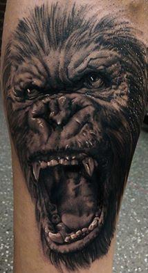 #gorilla #monkey #tattoo #ink #top #Dublin #portrait #realistic #blackandgrey #Ireland