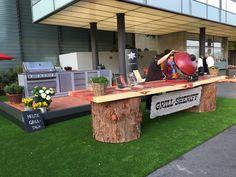 Giardina Gartenausstellung 2015 Keramikgrill mit Mamutbaumtisch 4  x 1 m