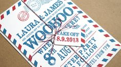 Airmail Wedding Invitation by STNstationery on Etsy