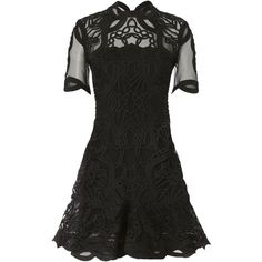 Truss Applique Mini Dress (175.915 HUF) ❤ liked on Polyvore featuring dresses, black, lace fit and flare dress, short dresses, sheer dress, long-sleeve fit and flare dresses and elbow sleeve dress