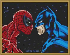 Cross Stitch Pattern Batman and Spider man superheroes Counted