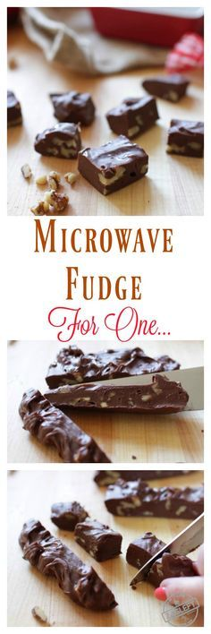 Homemade Microwave Fudge For One – a single serving recipe for rich, smooth, incredible chocolate fudge. One bowl and a microwave is all you need to make this scaled down version of my favorite fudge recipe! Single Serve Desserts, Single Serving Recipes, Just Desserts, Small Desserts, Mini Desserts, Vegan Desserts, Mug Recipes, Candy Recipes, Dessert Recipes