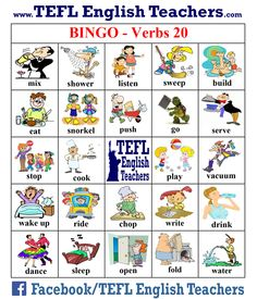 TEFL English Teachers Bingo Verbs game board 20 of 20