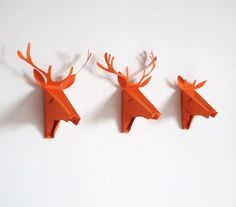 set of 3 faux deer head faux taxidermy  greeting by FrenchMelody, $9.00
