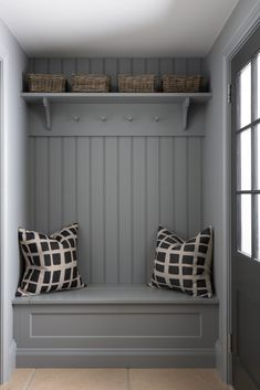 Back Porch/Mudroom/Boot Room Boot Room Storage, Porch Storage, Hallway Storage, Hallway Bench Seat, Wall Storage, Mudroom Laundry Room, Laundry Room Design, Boot Room Utility, Utility Room Designs