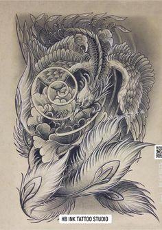 Japanese Phoenix Tattoo, Japanese Snake Tattoo, Koi Tattoo Design, Tattoo Designs, Asian Tattoos, Tribal Tattoos, Fenix Tattoo, Phoenix Drawing, Tattoo Sketches