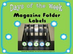 FREE Days of the Week Magazine Folder Labels - Turquoise and Lime Green