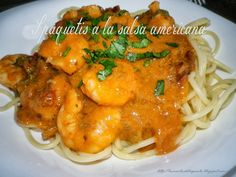 Espaguetis con salsa americana Spaghetti, Meat, Chicken, Ethnic Recipes, Food, Top Drawer, Recipes, Meals, Noodle